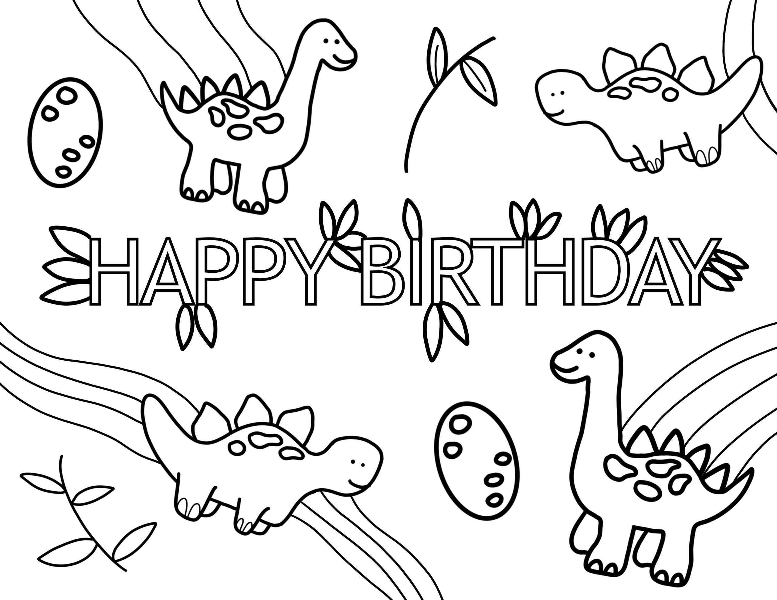 happy birthday coloring page dinosaur Dino party