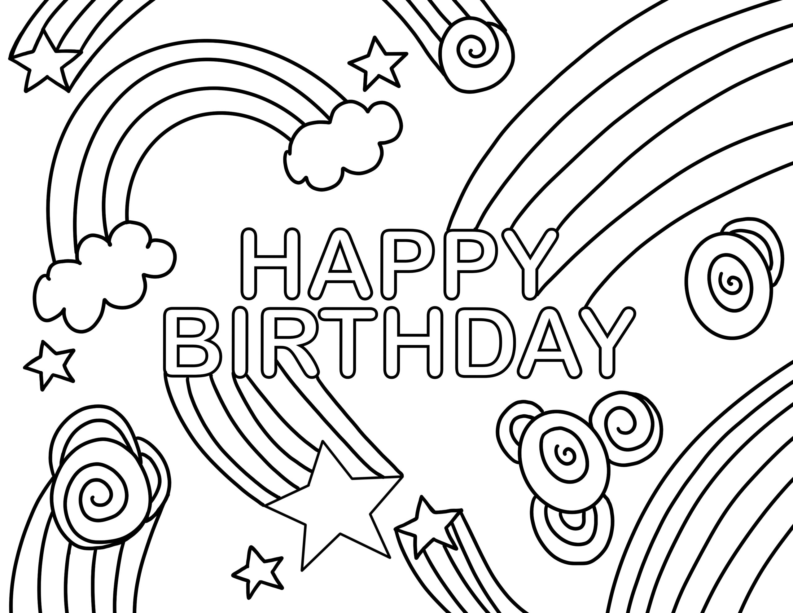 happy birthday coloring page rainbow swirl